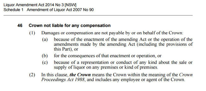 Section 46 - Liquor Amendment Act
